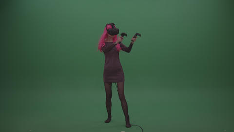 Pink Haired Young Japanese Anime Female Wearing VR headset Shooting Enemies Live Action