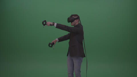 Smiling Dangerous Tough Man Shooting Enemies Around In Virtual Reality Game Live Action