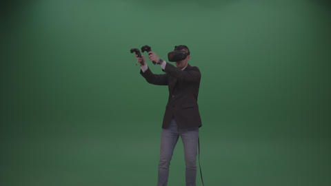 Young Handsome Cool Man Drawing Virtual Painting Using Virtual Reality Headset Live Action