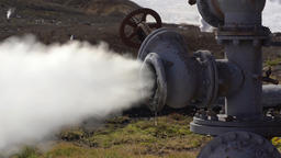 Zoom in view thermal steam-water emission from geological well Footage