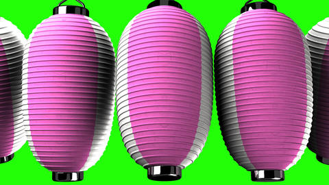 Pink and white paper lanterns on white background CG動画