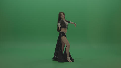 Beautiful belly dancer in black wear display incredible dance moves over ライブ動画