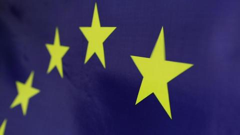 Closeup of European Union flag Live Action
