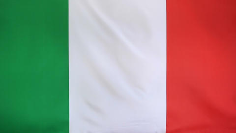 Textile flag of Italy in slow motion Footage