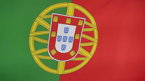 Closeup of Portuguese nation flag Footage