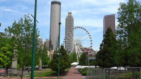 Atlanta Downtown skyline with Skyview Ferris Wheel - ATLANTA, GEORGIA - APRIL 18 Live Action
