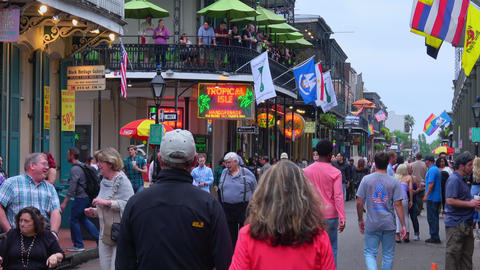 Street party at Bourbon Street French Quarter New Orleans - NEW ORLEANS, LOUISIA Footage