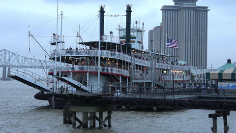 Natchez Paddle Streamer on Mississippi River in New Orleans - NEW ORLEANS, LOUIS Footage
