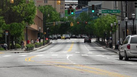 Atlanta Downtown street view on a sunny day - ATLANTA, GEORGIA - APRIL 18, 2016 Live Action