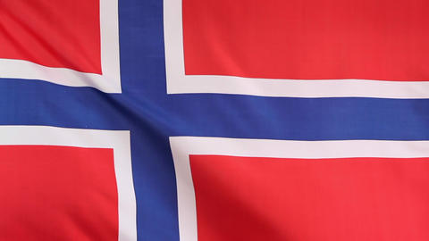 Closeup of national flag of Norway in slow motion Footage