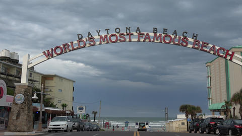 Beach Entrance sign to the worlds most famous beach - DAYTONA BEACH, FLORIDA APR Footage