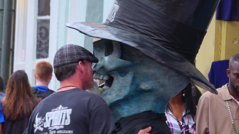 Skull Face at Bourbon Street French Quarter New Orleans - NEW ORLEANS, LOUISIANA Footage