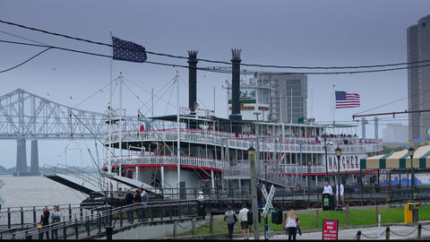 Natchez paddle steamer in New Orleans - NEW ORLEANS, LOUISIANA - APRIL 17, 2016 Footage