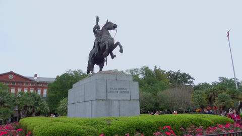 Jackson Square with Major General Andrew Jackson statue in New Orleans - NEW ORL Footage