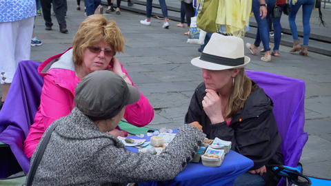Tarot and palm reading in New Orleans French Quarter - NEW ORLEANS, LOUISIANA -  Footage