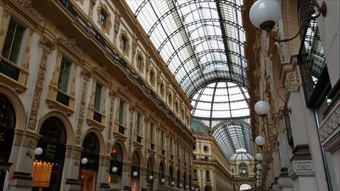 Milan, (Milano) Italy. Inside Galleria Vittorio Emanuele II Footage
