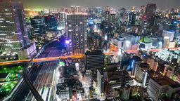Dense skyline of Umeda District, Osaka, Japan ビデオ