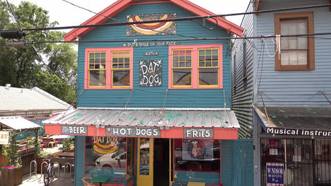 Beautiful Hot Dog restaurant at Magazine Street in New Orleans - NEW ORLEANS, LO Footage