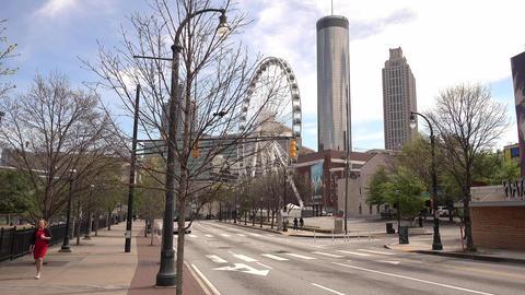 Atlanta Downtown skyline with Skyview Ferris Wheel - ATLANTA, GEORGIA - APRIL 21 Live Action