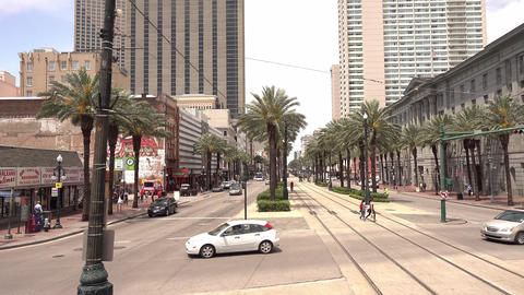 Crossing Canal street in New Orleans downtown - NEW ORLEANS, LOUISIANA - APRIL 1 Footage