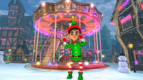 Cute elf dancing chicken dance in a Christmas village with a carrousel in the Animation