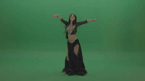 Beautiful belly dancer in black wear display amazing dance moves over chromakey ライブ動画