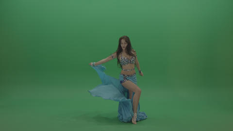 Fair belly dancer in blue wear display amazing dance moves over chromakey ライブ動画