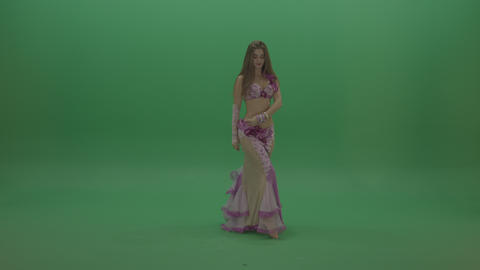 Beautiful belly dancer display amazing dance moves over chromakey background Footage
