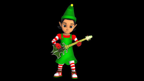 Cute elf girl playing rock guitar isolated with alpha channel. Seamless funny Animation