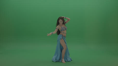 Beautiful belly dancer in blue wear display amazing dance moves over chromakey Live Action