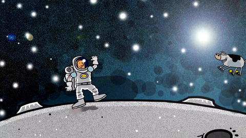 Spaceman with cow floying over head on moon Animation