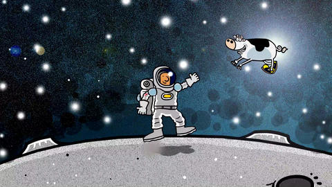 [alt video] Spaceman with cow floying over head on moon