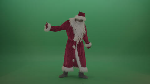 Man santa costume breakdancing over green screen background ライブ動画