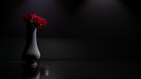 Romantic Drama Rose Petals Falling Down from Vase in Dark... Stock Video Footage