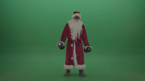 Strong santa show case his strength over chromakey background Live Action