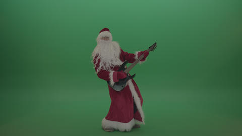 Santa plays guitar over green screen background Footage