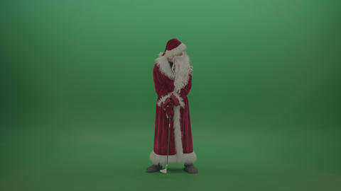 Santa wins the golf competition over chromakey background Live Action