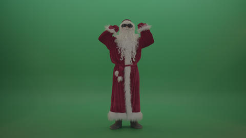 Santa in black glasses celebrates his victory over green screen background ライブ動画