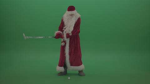 Stylish santa displays his amazing skill over chromakey background Footage