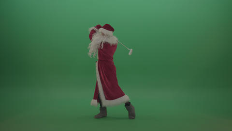 Funny santa scores 10 points playing golf over chromakey background Live Action