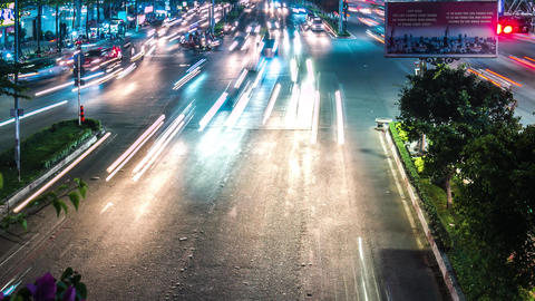 Time lapse of Ho Chi Minh City's night traffic Footage
