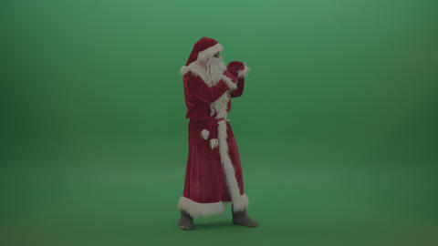 Santa in black glasses show cases his boxing skills over chromakey background ライブ動画