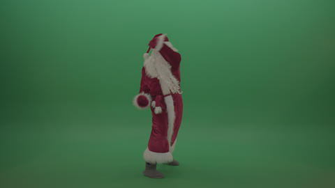Santa in black glasses show cases his boxing techniques over chromakey ライブ動画