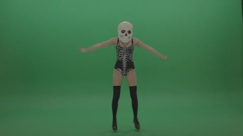 Awesome Skull Head Dancer GoGo Girl Footage