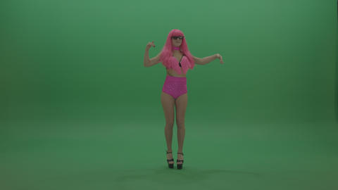Gogo dancer with amazing smile in pink displays her dance skills over chromakey ライブ動画