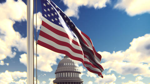 The American flag flutters in the wind on a Sunny day against the blue sky and Animation