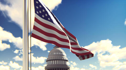 The American flag flutters in the wind on a Sunny day…, Stock Animation