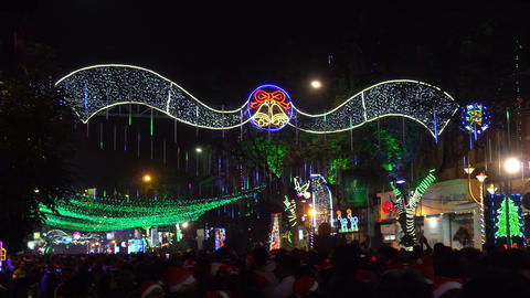 Decorative lighting at Park Street, Kolkata 영상물
