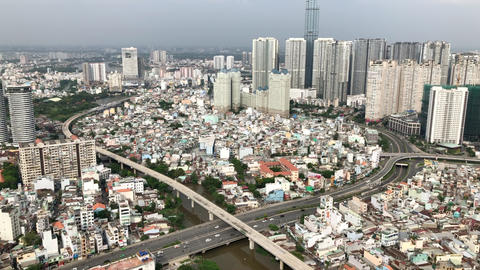 The aerial view of the city ビデオ