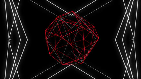 Anatomical red and white motion laser line effect on black motion background VJ Footage